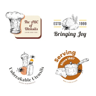 Logo with kitchen appliances concept design for branding and marketing vector illustration