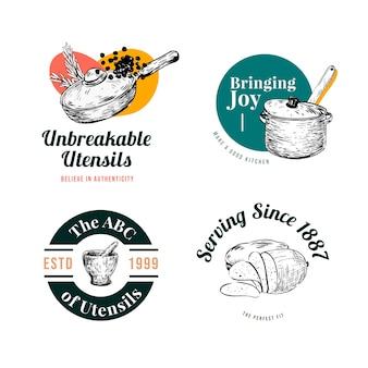 브랜딩 및 마케팅 벡터 일러스트 레이 션을위한 주방 가전 컨셉 디자인 로고