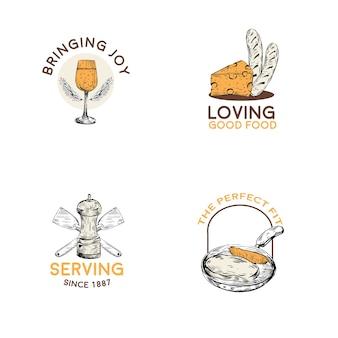 ブランディングとマーケティングのベクトルイラストのキッチン家電のコンセプトデザインのロゴ