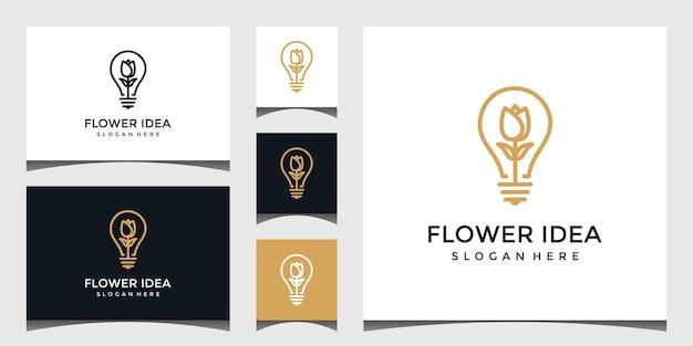 電球スタイルと花のラインアートのロゴ