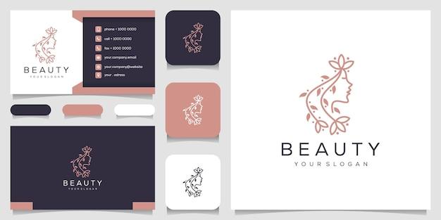 ラインアートスタイルと名刺デザインテンプレートのロゴ Premiumベクター