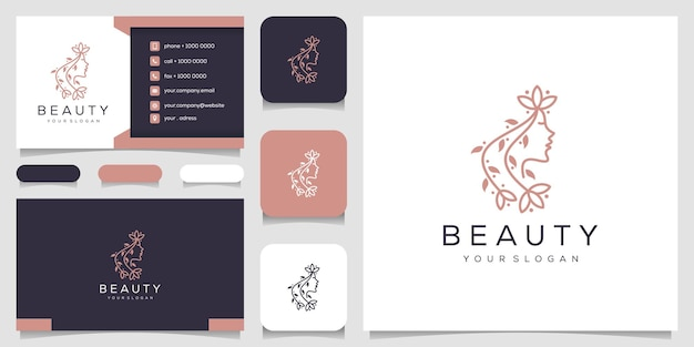 Logo with line art style and business card design template