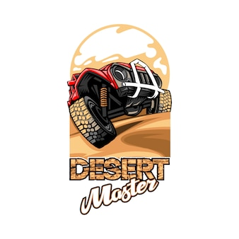 Logo with the name desert master with suv overcoming the hills.
