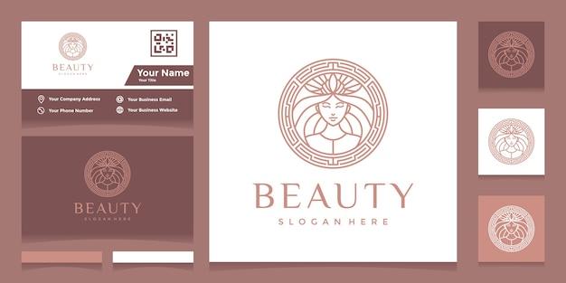 かわいらしいフェイスラインアートスタイルのロゴと名刺付きクラウン