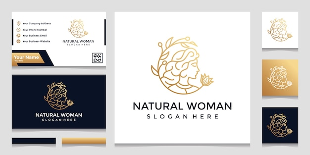 A logo with a pretty face line art style and a business card design. design concept for beauty salon, massage, cosmetics.