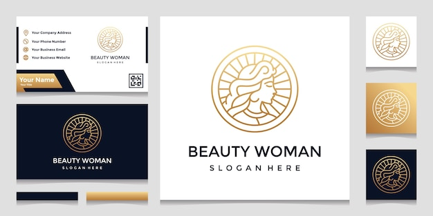 A logo with a pretty face line art style and a business card design. design concept for beauty salons