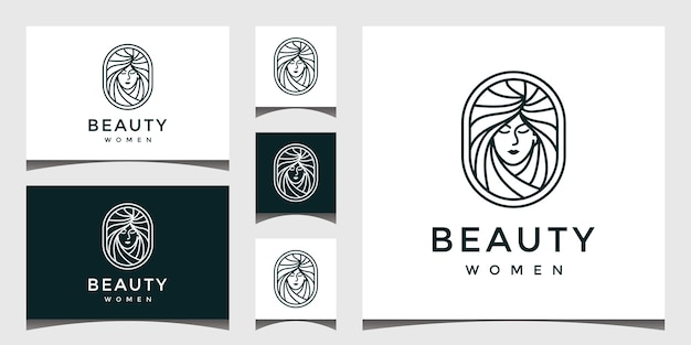 Logo with a pretty face line art style. Premium Vector