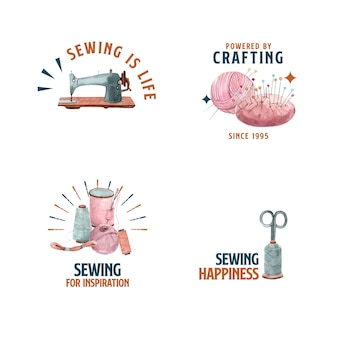 Logo with sewing concept design   watercolor    illustration.