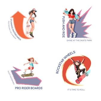 Logo con il concetto di design di skateboard per il marchio e l'illustrazione di vettore dell'acquerello di marketing.