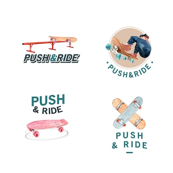 Logo with skateboard design concept for brand and marketing watercolor vector illustration.
