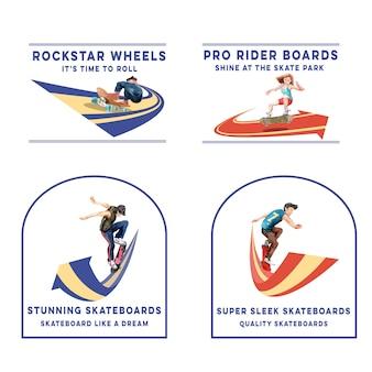 スケートボードのデザインコンセプトのブランドとマーケティングの水彩ベクトル図のロゴ。