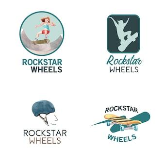 スケートボードのデザインコンセプトのブランドとマーケティングの水彩ベクトル図のロゴ。 無料ベクター