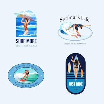 ビーチでサーフボードのロゴ