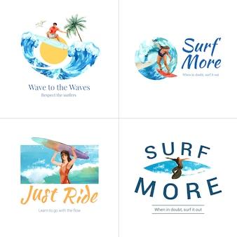 Логотип с досками для серфинга на пляже