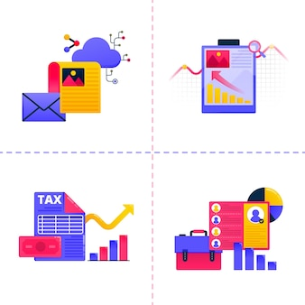 차트 및 문서 삽화와 함께 비즈니스 기술 및 재무 작업을 주제로 한 로고. 팩 템플릿은 방문 페이지, 웹, 모바일 앱, 포스터, 배너, 웹 사이트에 사용할 수 있습니다.