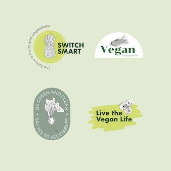 Logo with vegan food concept design for brand.