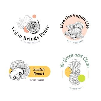 Logo con concept design di cibo vegano per il marchio.