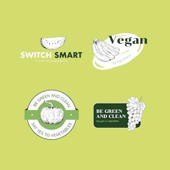 브랜드에 대한 채식주의 자 음식 컨셉 디자인 로고.