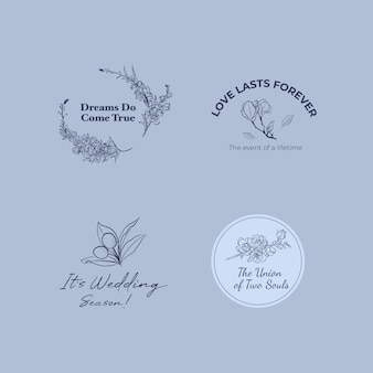 Logo with wedding ceremony for branding and icon