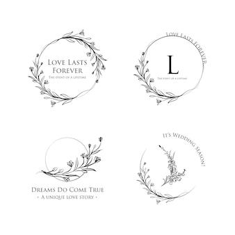 Logo con cerimonia di matrimonio per il marchio e l'icona