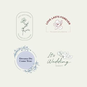 Логотип с дизайном концепции свадебной церемонии для брендинга и значок векторные иллюстрации.