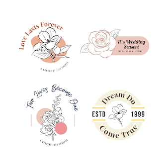 Логотип со свадебной церемонией для брендинга и значка