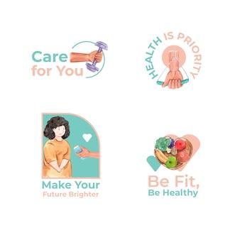 Logo con la giornata mondiale del diabete per il branding e l'icona dell'acquerello