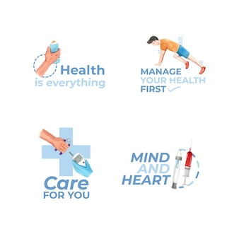 Logo with world diabetes day for branding and icon watercolor
