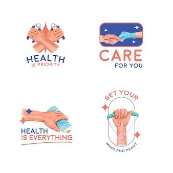 ブランディングとアイコン水彩画の世界糖尿病デーのロゴ