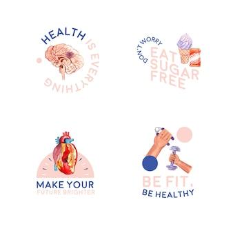 Логотип со всемирным днем диабета для брендинга и значок акварель