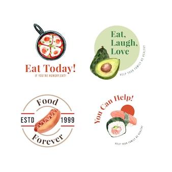 レストランとブランドの水彩画の世界食の日のコンセプトデザインのロゴ