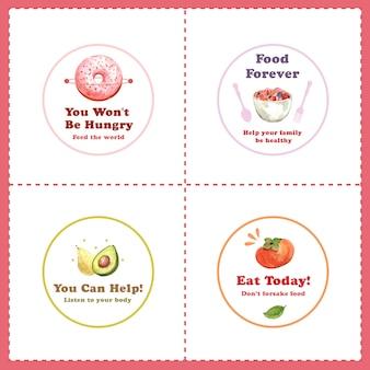 레스토랑 및 브랜딩 수채화를위한 세계 음식의 날 컨셉 디자인 로고