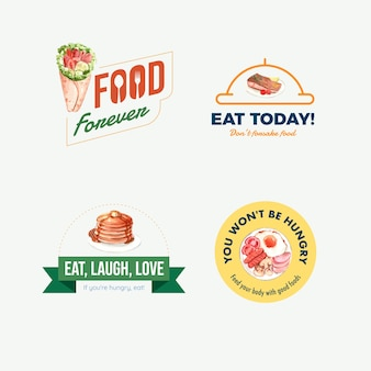 Logo con concept design della giornata mondiale dell'alimentazione per ristorante e acquerello di branding