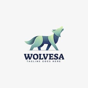 로고 늑대 그라디언트 다채로운 스타일.