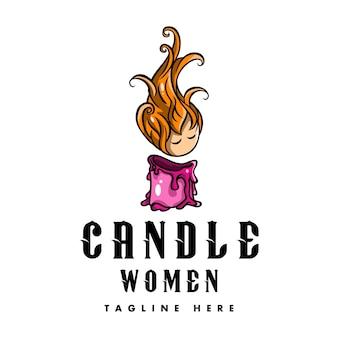 스파 및 뷰티 로고 여성 촛불