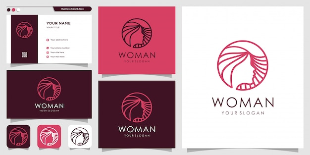 Logo for woman with beauty creative style and business card design template