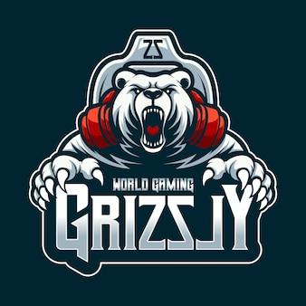Logo world gaming grizzly mascot cartoon