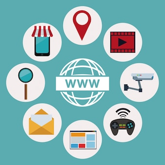 Logo world wide web with icons elements technology wireless
