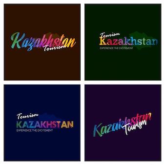 Туризм казахстан типография logo фон набор