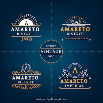 Роскошный винтаж бизнес logo коллекция