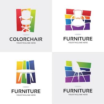 Коллекция мебели logo набор шаблонов дизайна