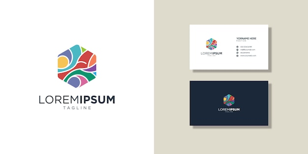 Logos and business cards, colorful abstract symbol