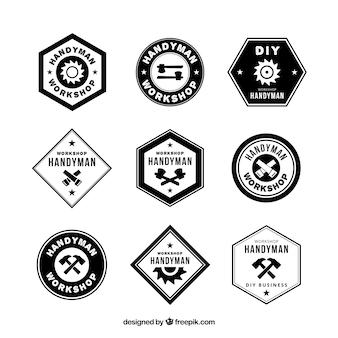 Logos for carpentry, black and white