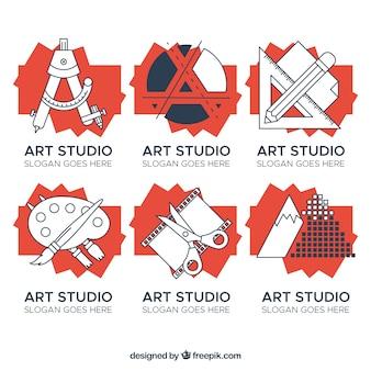 Коллекция логос художественной студии в современном стиле