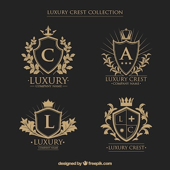Logos collection of crests with initials in vintage style