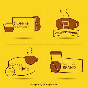黄色の背景にコーヒーのためのロゴ