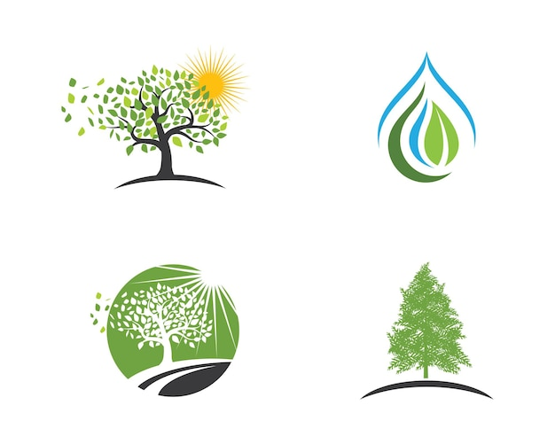 Logos of green tree leaf ecology nature element vector icon