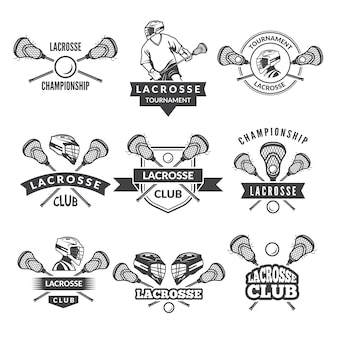 Logos or labels for lacrosse team in sport college