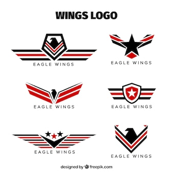 logos of badges with wings collection