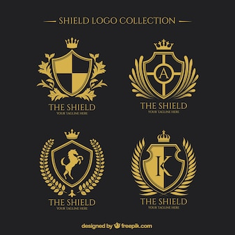 Shield vectors photos and psd files free download logos of golden shields collection maxwellsz